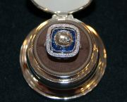 Exquisite Art Deco Ring With Diamonds and Sapphires - Muzzie's Fine Jewelry & Gifts