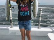 Crystal Dawn Head Boat Fishing and Evening Cruise, Young Manteo angler shows off her double header Spanish mackerel!