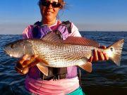 women fisher puppy drum obx saltwater fishing kayak