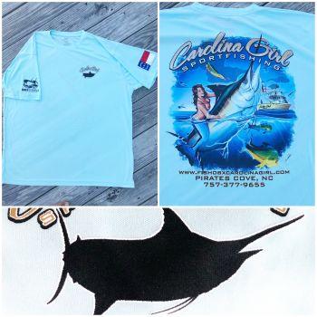 Carolina Girl Sportfishing Charters Outer Banks, Cool Dry Logo Tees (SPF 50)