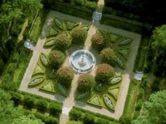 Aerial view of The Elizabethan Gardens in Manteo, NC