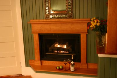 Fireplace in the Featherstone room at Cameron House Inn