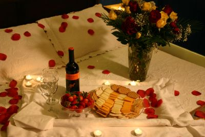 Full Romance package in the Mirabella room at Cameron House Inn